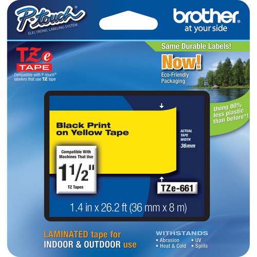 """Brother TZe661 Laminated Tape for P-Touch Labelers (Black on Yellow, 1.4"""" x 26.2')"""
