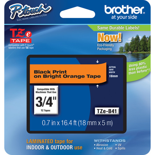 "Brother TZeB41 Laminated Tape for P-Touch Labelers (Black on Fluorescent Orange, 0.7"" x 16.4')"