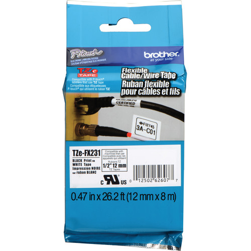 "Brother TZeFX231 Flexible ID Tape (Black on White, 0.47"" x 26.2')"