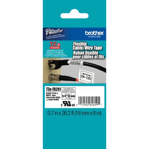 "Brother TZeFX241 Flexible ID Tape (Black on White, 0.7"" x 26.2')"