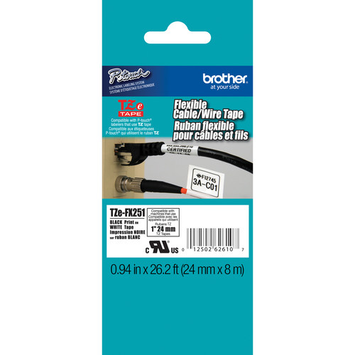 "Brother TZeFX251 Flexible ID Tape (Black on White, 0.94"" x 26.2')"