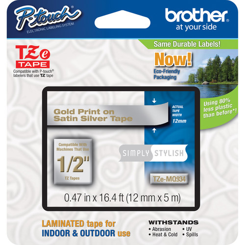 "Brother TZeMQ934 Laminated Tape for P-Touch Labelers (Gold on Satin Silver, 0.47"" x 16.4')"