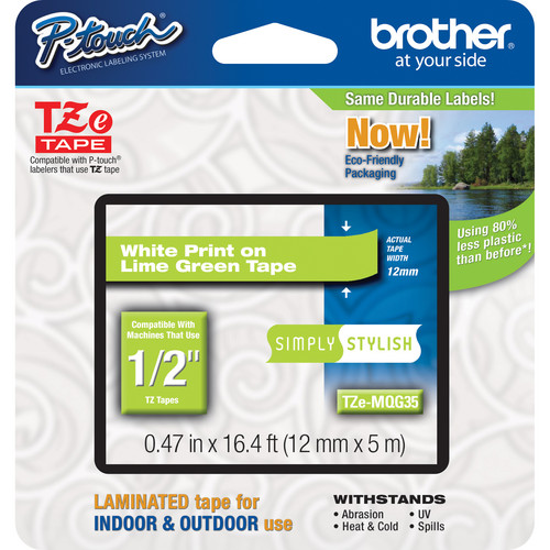 "Brother TZeMQG35 Laminated Tape for P-Touch Labelers (White on Lime Green, 0.47"" x 16.4')"