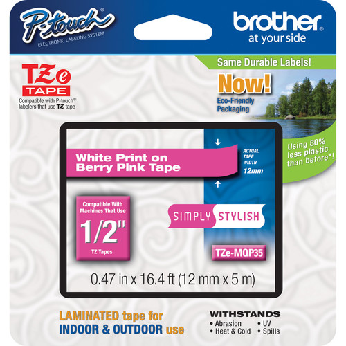 "Brother TZeMQP35 Laminated Tape for P-Touch Labelers (White on Berry Pink, 0.47"" x 16.4')"