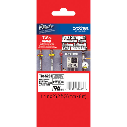 "Brother TZeS261 Tape with Extra-Strength Adhesive for P-Touch Labelers (Black on White, 1.4"" x 26.2')"