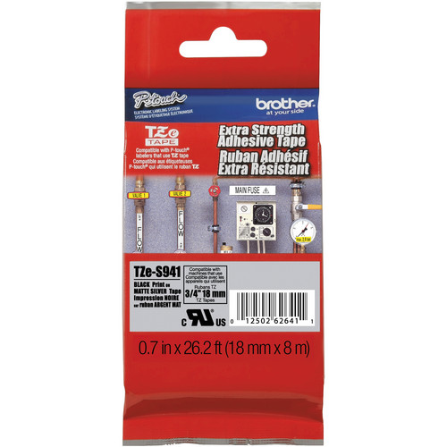 """Brother TZeS941 Tape with Extra-Strength Adhesive for P-Touch Labelers (Black on Matte Silver, 0.7"""" x 26.2')"""
