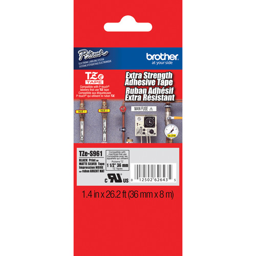 "Brother TZeS961 Tape with Extra-Strength Adhesive for P-Touch Labelers (Black on Matte Silver, 1.4"" x 26.2')"