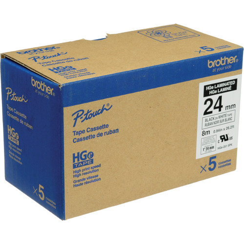 "Brother HGE251 5-Pack 1.0"" Black Print On White Laminated Tape With Extra-Strength Adhesive (26.2'/8.0 m)"