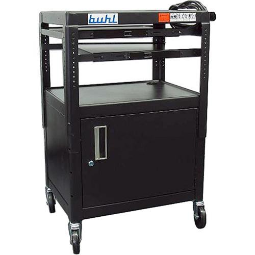 HamiltonBuhl CABT4226E-5 Height Adjustable AV Media Cart w/ Security Cabinet & 2 Pull-Out Shelves