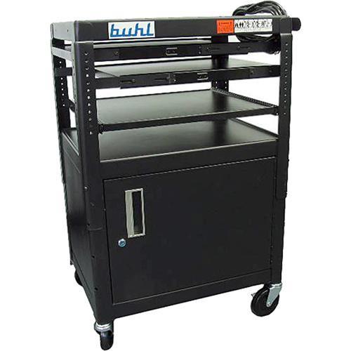 HamiltonBuhl FIVE4226E Height Adjustable AV Media Cart w/ Security Cabinet & Laptop Shelf