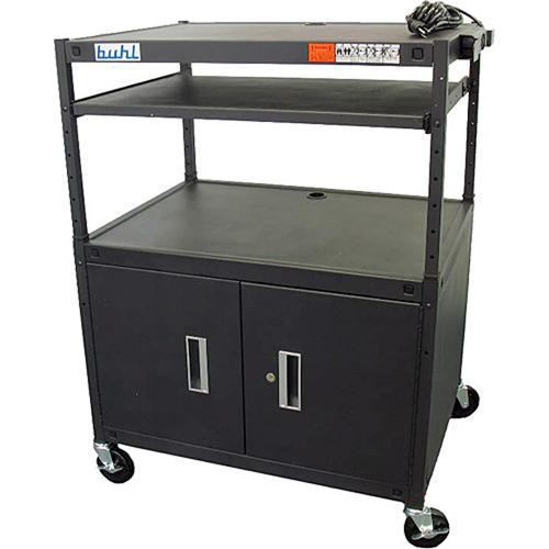 HamiltonBuhl HABC3224E Height Adjustable AV Media Cart w/ Security Cabinet & Laptop Shelf