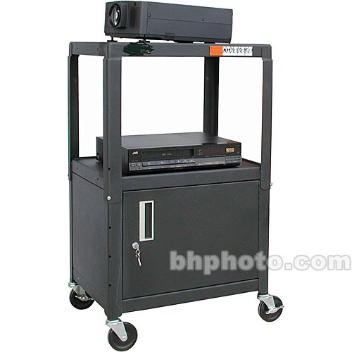 "HamiltonBuhl A/V Cart, Adjustable Height 26 to 42"" with Cabinet - Steel"