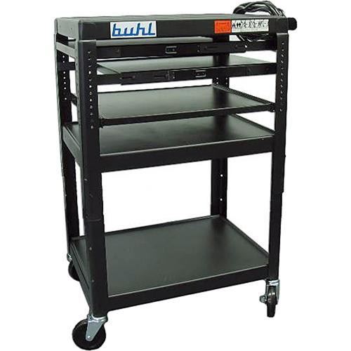 HamiltonBuhl SIXS4226E-5 Height Adjustable AV Media Cart & 2 Pull-Out Shelves