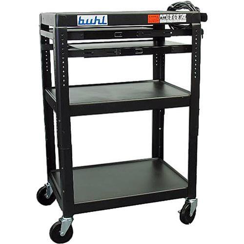 HamiltonBuhl TPOS4226E-5 Height Adjustable AV Media Cart & 2 Pull-Out Shelves