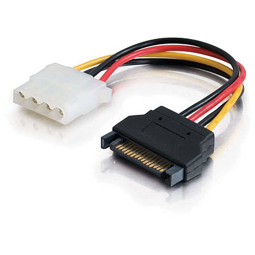 "C2G 6"" 15-pin Serial ATA Male to LP4 Female Power Cable"