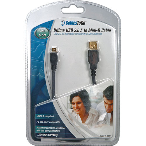 C2G 6.6' (2 m) Ultima USB 2.0 A/mini-B Cable (Black)