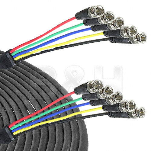 Canare 5-BNC Male to 5-BNC Male Cable - 10'
