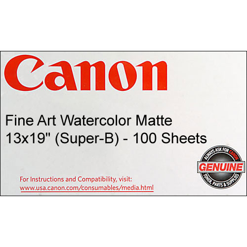 "Canon Fine Art Watercolor Paper (Matte) - 13x19"" - 100 Sheets"