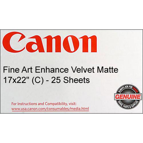 """Canon Fine Art Enhance Velvet Paper (Matte, 225gsm) - 17x22"""" - 25 Sheets"""