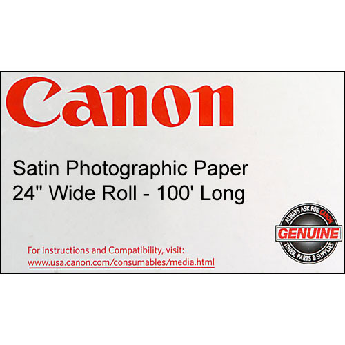 "Canon Satin Photographic Paper (190 gsm) - 24"" Wide Roll - 100' Long"