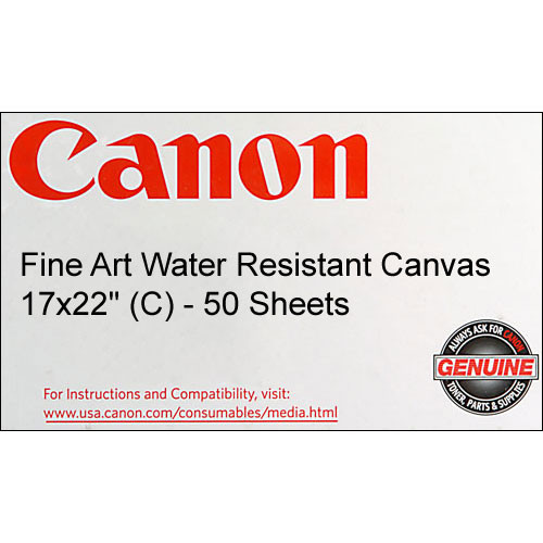"""Canon Fine Art Water Resistant Canvas for Inkjet - 17x22"""" (C) - 50 Sheets"""