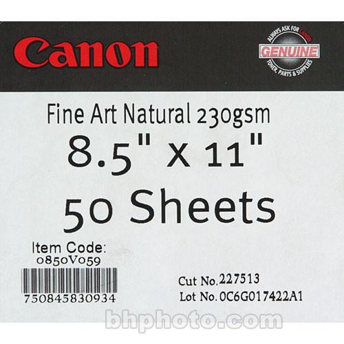 "Canon Fine Art Natural White Paper (Matte, 230 gsm) - 8.5x11"" - 50 Sheets"