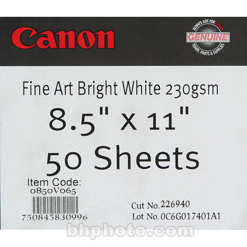 "Canon Fine Art Bright White Paper (Matte, 230gsm) - 8.5x11"" - 50 Sheets"