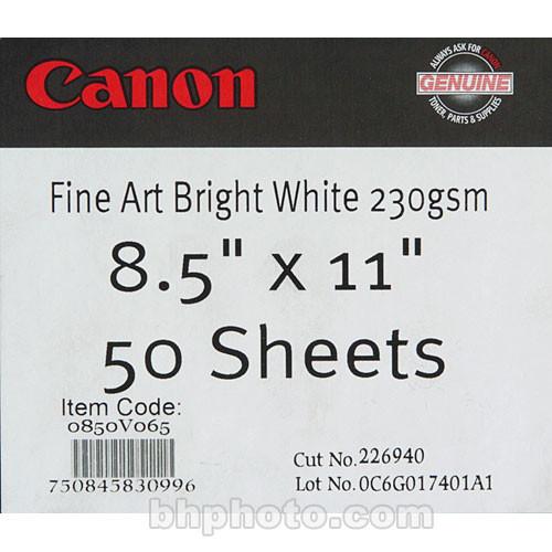"""Canon Fine Art Bright White Paper (Matte, 230gsm) - 8.5x11"""" - 50 Sheets"""