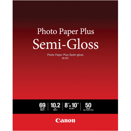 "Canon SG-201 Photo Paper Plus Semi-Gloss (8 x 10"", 50 Sheets)"