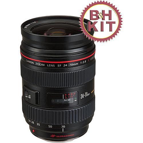 Canon 24-70mm f/2.8L USM AF Lens with LensCoat Lens Cover & Hoodie (Black)