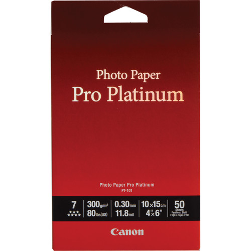 "Canon Pro Platinum Photo Paper 4 x 6"" (50 Sheets)"