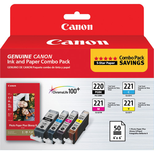 Canon PGI-220/CLI-221 Ink Tank Combo Pack with PP-201 Photo Paper