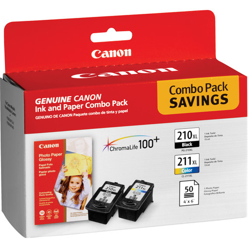 Canon PG-210XL Black & CL-211XL Color Inks and Paper Combo Pack