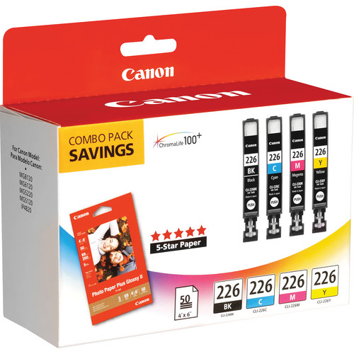 """Canon CLI-226 Four Color Ink Tank Pack with 50 Sheets of 4.0 x 6.0"""" Photo Paper"""