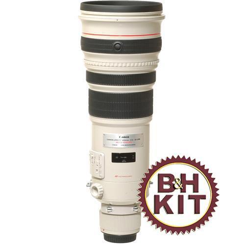 Canon 500mm f/4L IS USM AF Lens w/LensCoat Lens Cover (White) & Hoodie (Black)