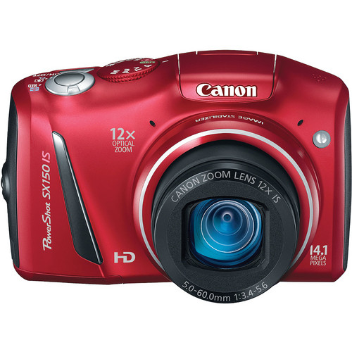 Canon PowerShot SX150 IS Digital Camera (Red)
