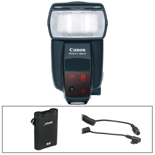 Canon 580EXII Flash w/ Bolt Power Pack & Cable Kit