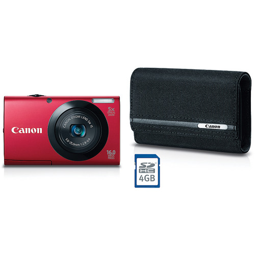 Canon PowerShot A3400 IS Digital Camera Deluxe Kit (Red)