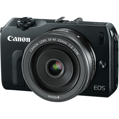 Canon EOS-M Mirrorless Digital Camera with EF-M 22mm f/2 STM Lens - Black