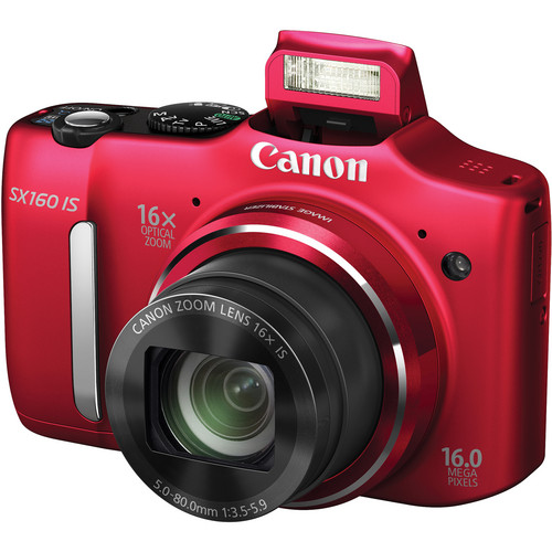 Canon PowerShot SX160 IS Digital Camera (Red)