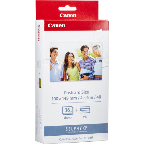 "Canon KP-36IP Color Ink & Paper Set (4x6"" paper, 36 sheets)"