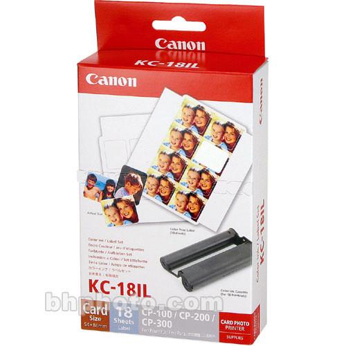 Canon KC-18IL Card-size mini-labels, 8 per sheet, 18 sheets