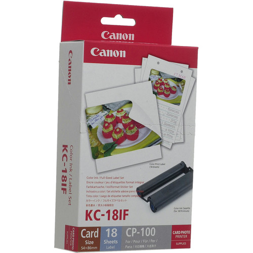 Canon KC-18IF Color Ink & Label Set (Card-size full sheet labels, 18 sheets)