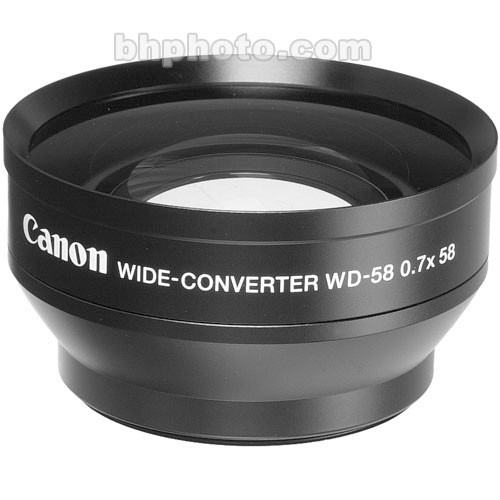 Canon WD-58H 58mm 0.7x Wide Angle Converter Lens with Lens Hood