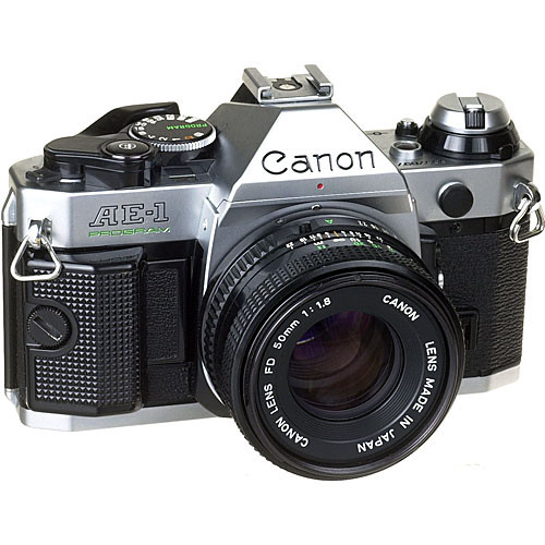 Canon AE-1 Program 35mm SLR Manual Focus Camera (Chrome) with 50mm f/1.8 FD S.C. Lens