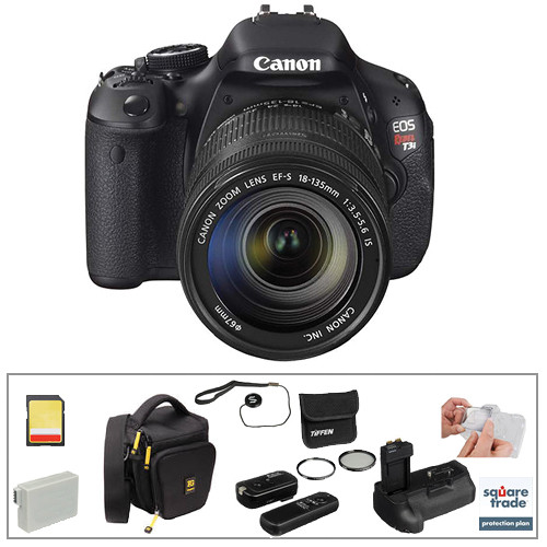 Canon Canon EOS Rebel T3i DSLR Camera w/EF-S 18-135mm f/3.5-5.6 IS Lens Deluxe Kit