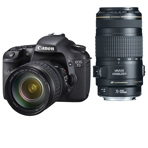 Canon EOS 7D SLR Digital Camera w/EF-S 28-135mm IS & 70-300mm f/4-5.6 IS USM Lens Deluxe Kit