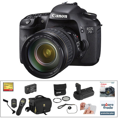Canon EOS 7D DSLR Camera with 28-135mm Lens Deluxe Kit