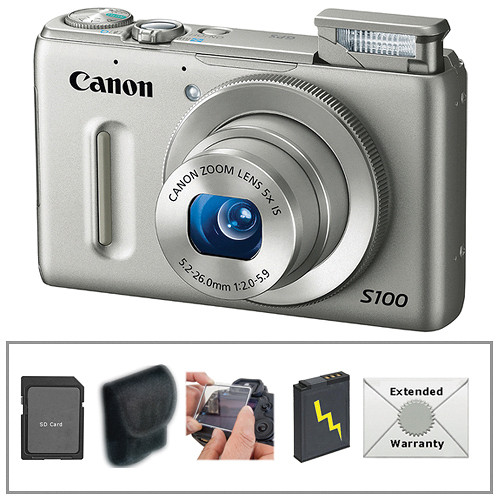 Canon PowerShot S100 Digital Camera with Deluxe Accessory Kit (Silver)