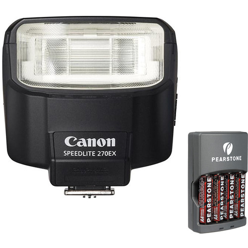 Canon Speedlite 270EX Flash With 4-Hour Battery Charger Kit